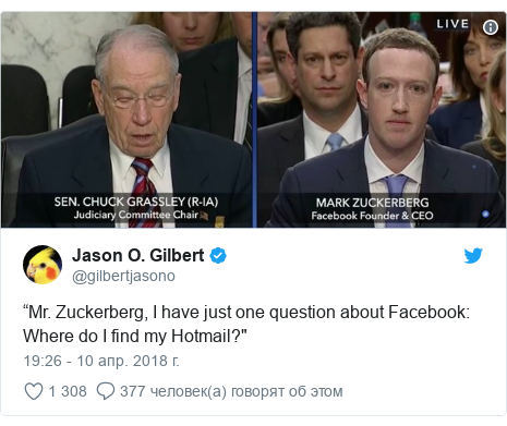 """Twitter post by @gilbertjasono: """"Mr. Zuckerberg, I have just one question about Facebook  Where do I find my Hotmail?"""""""