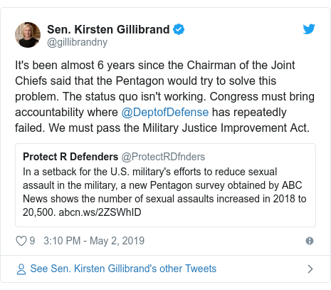 Twitter post by @gillibrandny: It's been almost 6 years since the Chairman of the Joint Chiefs said that the Pentagon would try to solve this problem. The status quo isn't working. Congress must bring accountability where @DeptofDefense has repeatedly failed. We must pass the Military Justice Improvement Act.