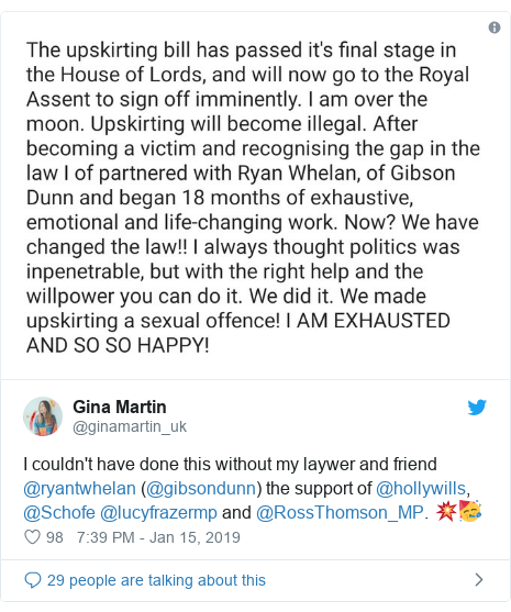 Twitter post by @ginamartin_uk: I couldn't have done this without my laywer and friend @ryantwhelan (@gibsondunn) the support of @hollywills, @Schofe @lucyfrazermp and @RossThomson_MP. 💥🥳