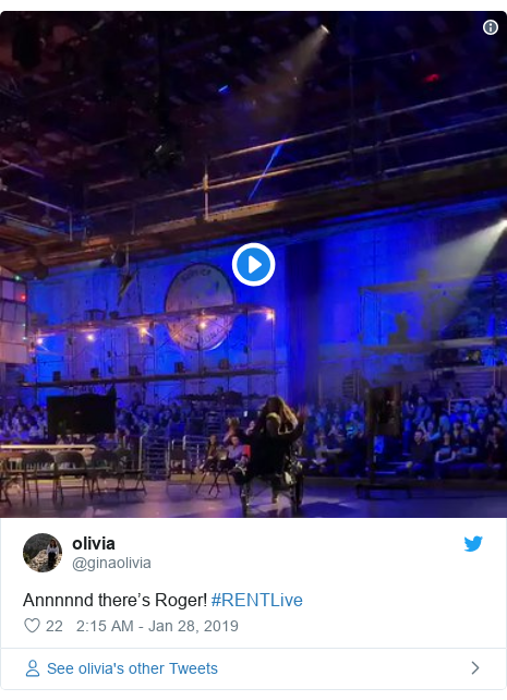 Twitter post by @ginaolivia: Annnnnd there's Roger! #RENTLive