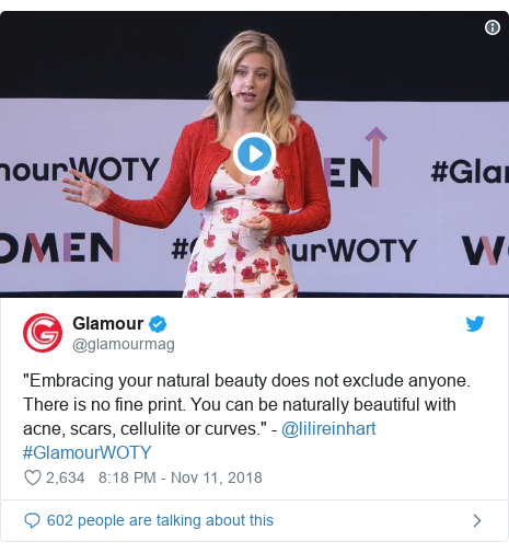 """Twitter post by @glamourmag: """"Embracing your natural beauty does not exclude anyone. There is no fine print. You can be naturally beautiful with acne, scars, cellulite or curves."""" - @lilireinhart #GlamourWOTY"""