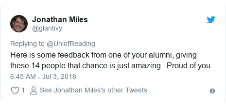 Twitter post by @glantivy: Here is some feedback from one of your alumni, giving these 14 people that chance is just amazing.  Proud of you.