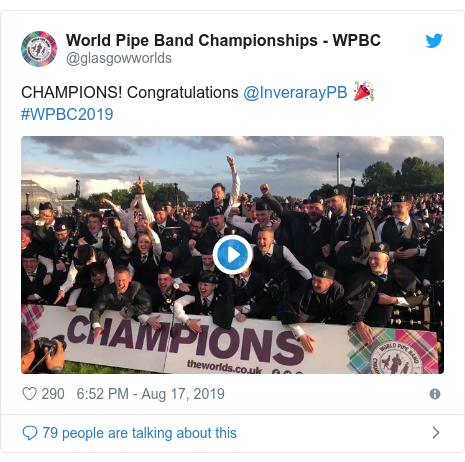 Twitter post by @glasgowworlds: CHAMPIONS! Congratulations @InverarayPB 🎉 #WPBC2019