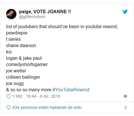 Publicación de Twitter por @glitternelson: list of youtubers that should've been in youtube rewind;pewdiepiet series shane dawsonksilogan & jake paulcomedyshortsgamer joe wellercolleen ballingerjoe sugg & so so so many more #YouTubeRewind