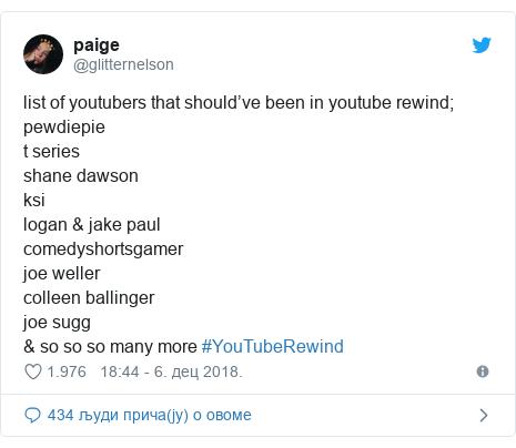Twitter post by @glitternelson: list of youtubers that should've been in youtube rewind;pewdiepiet series shane dawsonksilogan & jake paulcomedyshortsgamer joe wellercolleen ballingerjoe sugg & so so so many more #YouTubeRewind