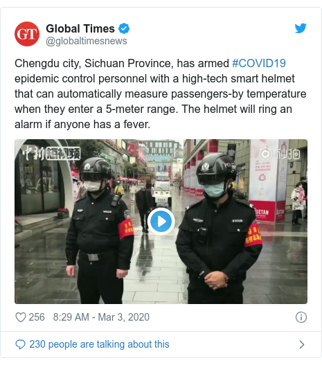 Twitter post by @globaltimesnews: Chengdu city, Sichuan Province, has armed #COVID19 epidemic control personnel with a high-tech smart helmet that can automatically measure passengers-by temperature when they enter a 5-meter range. The helmet will ring an alarm if anyone has a fever.