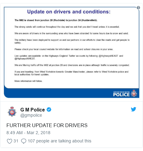 Twitter post by @gmpolice: FURTHER UPDATE FOR DRIVERS