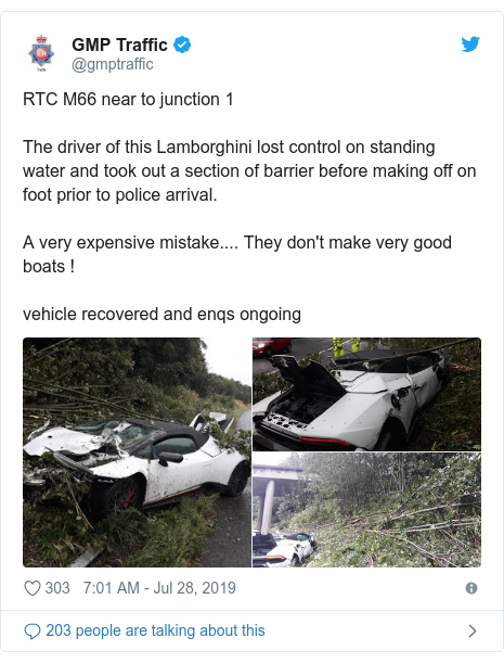Twitter post by @gmptraffic: RTC M66 near to junction 1 The driver of this Lamborghini lost control on standing water and took out a section of barrier before making off on foot prior to police arrival.A very expensive mistake.... They don't make very good boats ! vehicle recovered and enqs ongoing