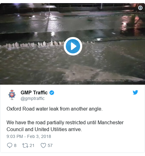 Twitter post by @gmptraffic: Oxford Road water leak from another angle.We have the road partially restricted until Manchester Council and United Utilities arrive.