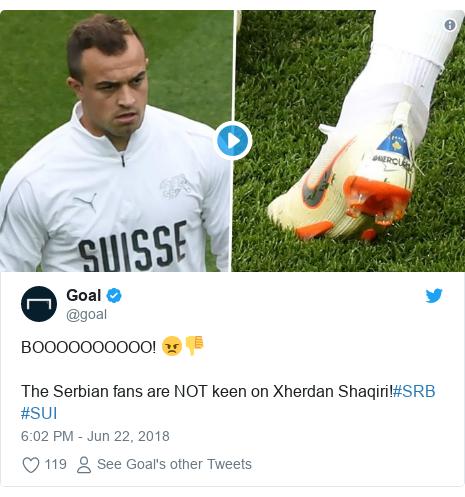 Twitter post by @goal: BOOOOOOOOOO! 😠👎The Serbian fans are NOT keen on Xherdan Shaqiri!#SRB #SUI