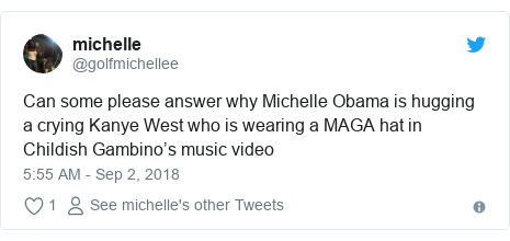 Twitter post by @golfmichellee: Can some please answer why Michelle Obama is hugging a crying Kanye West who is wearing a MAGA hat in Childish Gambino's music video