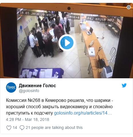 Twitter post by @golosinfo: Комиссия №268 в Кемерово решила, что шарики - хороший способ закрыть видеокамеру и спокойно приступить к подсчету