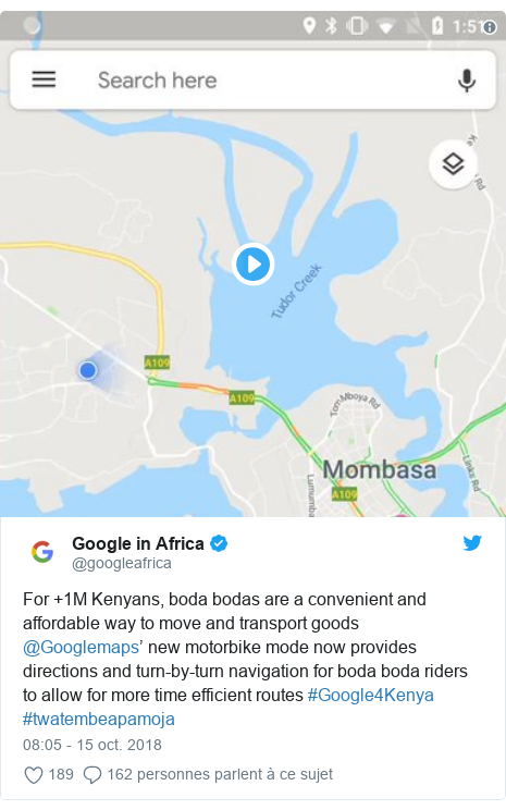 Twitter publication par @googleafrica: For +1M Kenyans, boda bodas are a convenient and affordable way to move and transport goods @Googlemaps' new motorbike mode now provides directions and turn-by-turn navigation for boda boda riders to allow for more time efficient routes #Google4Kenya #twatembeapamoja