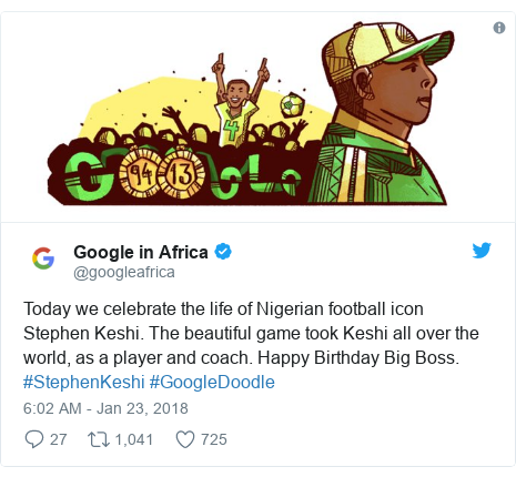Twitter post by @googleafrica: Today we celebrate the life of Nigerian football icon Stephen Keshi. The beautiful game took Keshi all over the world, as a player and coach. Happy Birthday Big Boss. #StephenKeshi #GoogleDoodle