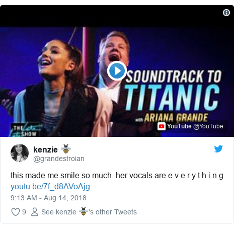 Twitter post by @grandestroian: this made me smile so much. her vocals are e v e r y t h i n g