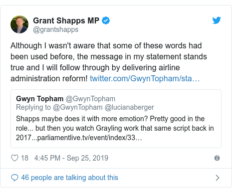 Twitter post by @grantshapps: Although I wasn't aware that some of these words had been used before, the message in my statement stands true and I will follow through by delivering airline administration reform!