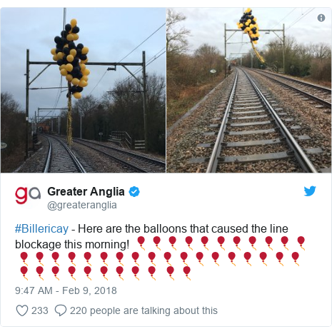 Twitter post by @greateranglia: #Billericay - Here are the balloons that caused the line blockage this morning! 🎈🎈🎈🎈🎈🎈🎈🎈🎈🎈🎈🎈🎈🎈🎈🎈🎈🎈🎈🎈🎈🎈🎈🎈🎈🎈🎈🎈🎈🎈🎈🎈🎈🎈🎈🎈🎈🎈 🎈🎈