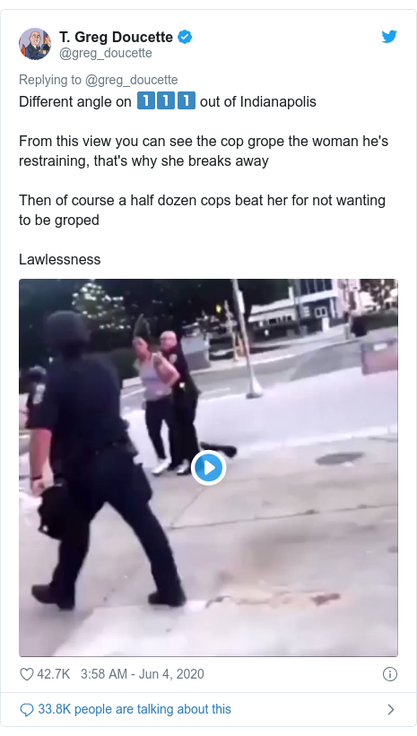 Twitter post by @greg_doucette: Different angle on 1️⃣1️⃣1️⃣ out of Indianapolis From this view you can see the cop grope the woman he's restraining, that's why she breaks awayThen of course a half dozen cops beat her for not wanting to be gropedLawlessness