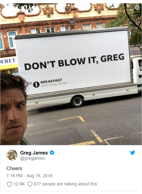 Twitter post by @gregjames: Cheers