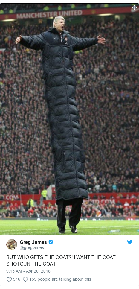 Twitter post by @gregjames: BUT WHO GETS THE COAT?! I WANT THE COAT. SHOTGUN THE COAT.