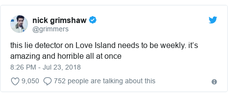 Twitter post by @grimmers: this lie detector on Love Island needs to be weekly. it's amazing and horrible all at once