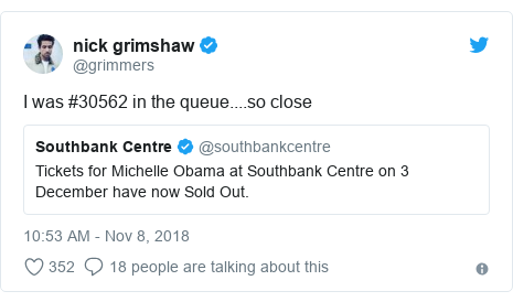 Twitter post by @grimmers: I was #30562 in the queue....so close