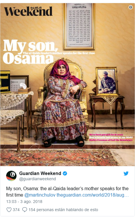 Publicación de Twitter por @guardianweekend: My son, Osama  the al-Qaida leader's mother speaks for the first time @martinchulov