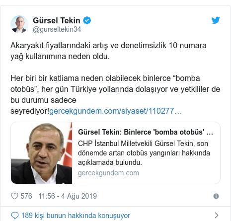 """@gurseltekin34 tarafından yapılan Twitter paylaşımı: Akaryakıt fiyatlarındaki artış ve denetimsizlik 10 numara yağ kullanımına neden oldu.Her biri bir katliama neden olabilecek binlerce""""bomba otobüs"""",her gün Türkiye yollarında dolaşıyor ve yetkililer de bu durumu sadece seyrediyor!"""