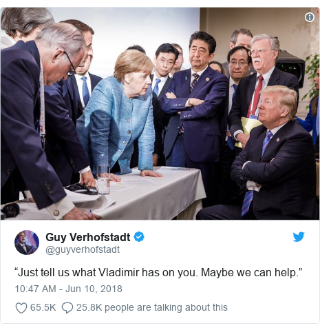"Twitter post by @guyverhofstadt: ""Just tell us what Vladimir has on you. Maybe we can help."""
