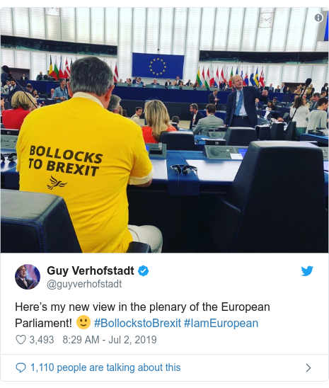 Twitter post by @guyverhofstadt: Here's my new view in the plenary of the European Parliament! 🙂 #BollockstoBrexit #IamEuropean