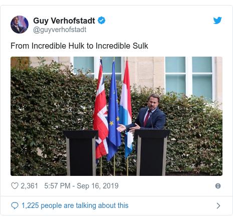 Twitter post by @guyverhofstadt: From Incredible Hulk to Incredible Sulk