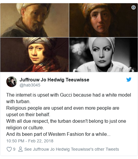 Twitter post by @hab3045: The internet is upset with Gucci because had a white model with turban.Religious people are upset and even more people are upset on their behalf.With all due respect, the turban doesn't belong to just one religion or culture.And its been part of Western Fashion for a while...