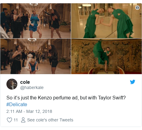 Twitter post by @haberkale: So it's just the Kenzo perfume ad, but with Taylor Swift? #Delicate