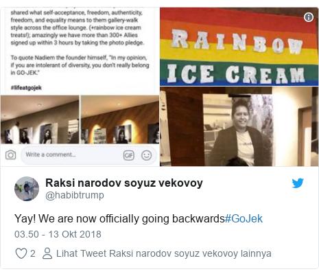 Twitter pesan oleh @habibtrump: Yay! We are now officially going backwards#GoJek