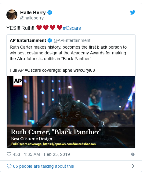 Twitter post by @halleberry: YES!!! Ruth!! ♥️♥️♥️♥️#Oscars