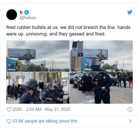 Twitter post by @halsey: fired rubber bullets at us. we did not breach the line. hands were up. unmoving. and they gassed and fired.