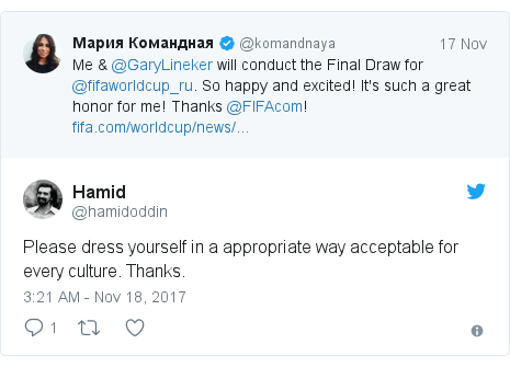 Twitter post by @hamidoddin: Please dress yourself in a appropriate way acceptable for every culture. Thanks.