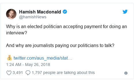 Twitter post by @hamishNews: Why is an elected politician accepting payment for doing an interview? And why are journalists paying our politicians to talk? 💰