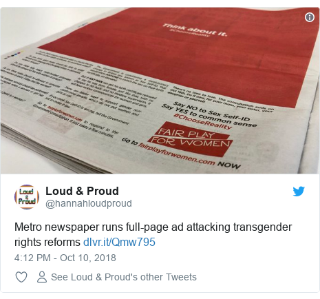 Twitter post by @hannahloudproud: Metro newspaper runs full-page ad attacking transgender rights reforms