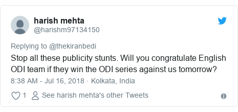 Twitter post by @harishm97134150: Stop all these publicity stunts. Will you congratulate English ODI team if they win the ODI series against us tomorrow?