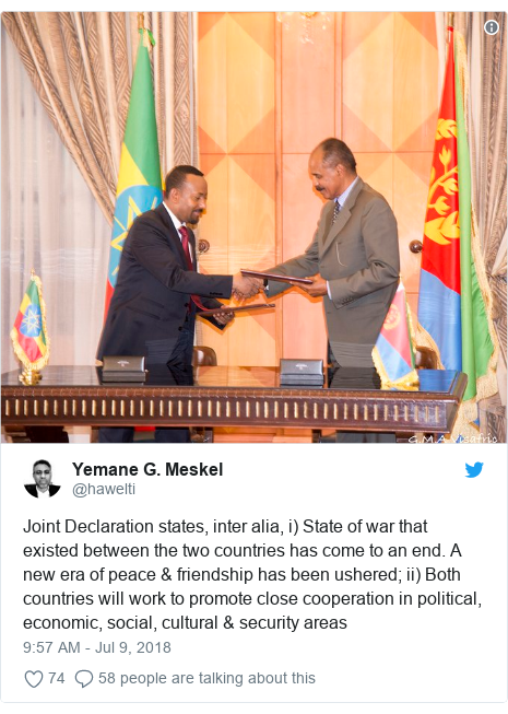 Twitter post by @hawelti: Joint Declaration states, inter alia, i) State of war that existed between the two countries has come to an end. A new era of peace & friendship has been ushered; ii) Both countries will work to promote close cooperation in political, economic, social, cultural & security areas