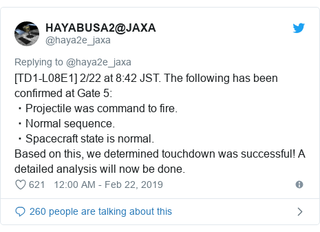 Twitter post by @haya2e_jaxa: [TD1-L08E1] 2/22 at 8 42 JST. The following has been confirmed at Gate 5  ・Projectile was command to fire.・Normal sequence.・Spacecraft state is normal.Based on this, we determined touchdown was successful! A detailed analysis will now be done.