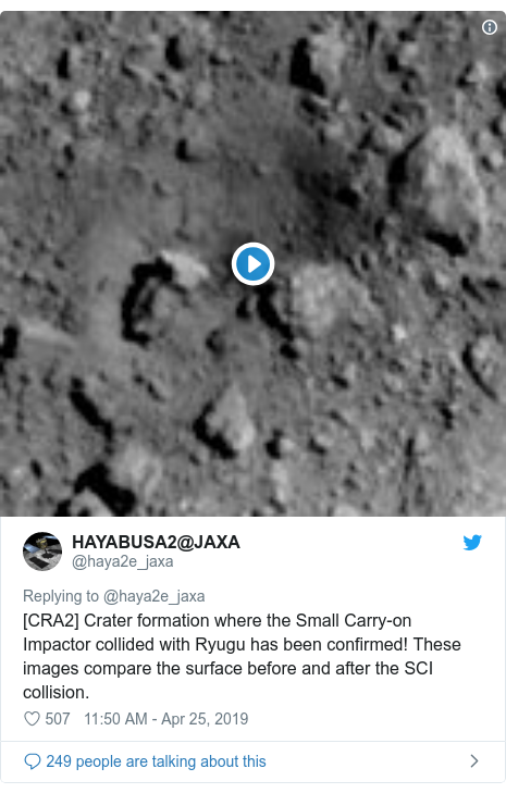 Twitter post by @haya2e_jaxa: [CRA2] Crater formation where the Small Carry-on Impactor collided with Ryugu has been confirmed! These images compare the surface before and after the SCI collision.