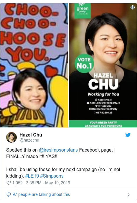 Twitter post by @hazechu: Spotted this on @iresimpsonsfans Facebook page. I FINALLY made it!! YAS!! I shall be using these for my next campaign (no I'm not kidding). #LE19 #Simpsons