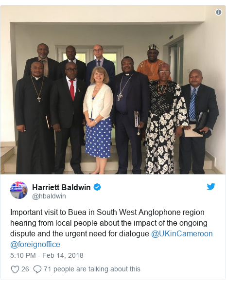 Twitter post by @hbaldwin: Important visit to Buea in South West Anglophone region hearing from local people about the impact of the ongoing dispute and the urgent need for dialogue @UKinCameroon @foreignoffice