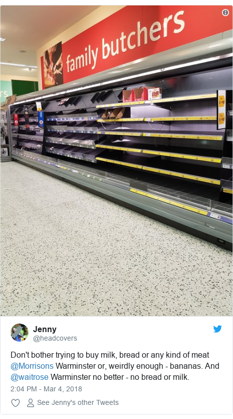 Twitter post by @headcovers: Don't bother trying to buy milk, bread or any kind of meat @Morrisons Warminster or, weirdly enough - bananas. And @waitrose Warminster no better - no bread or milk.