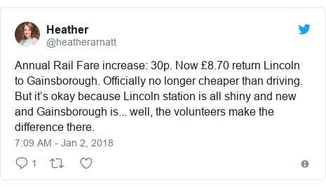 Twitter post by @heatherarnatt: Annual Rail Fare increase  30p. Now £8.70 return Lincoln to Gainsborough. Officially no longer cheaper than driving. But it's okay because Lincoln station is all shiny and new and Gainsborough is... well, the volunteers make the difference there.