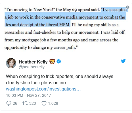 Twitter post by @heatherkelly: When conspiring to trick reporters, one should always clearly state their plans online.