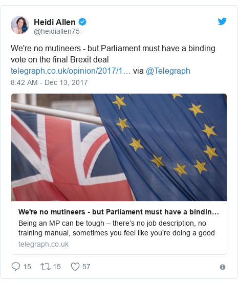 Twitter post by @heidiallen75: We're no mutineers - but Parliament must have a binding vote on the final Brexit deal  via @Telegraph