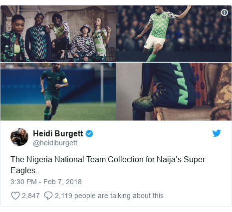 Twitter post by @heidiburgett: The Nigeria National Team Collection for Naija's Super Eagles.